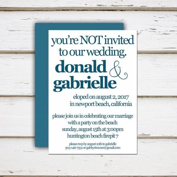 Printable Elopement Reception Invitation, You're Not Invited, You