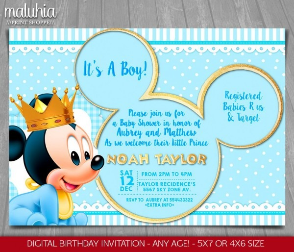 Baby Mickey Mouse Baby Shower Invitation Baby Prince Mickey