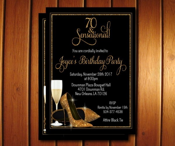 70th Birthday Invitation Champagne Glass Gold Glitter Shoes