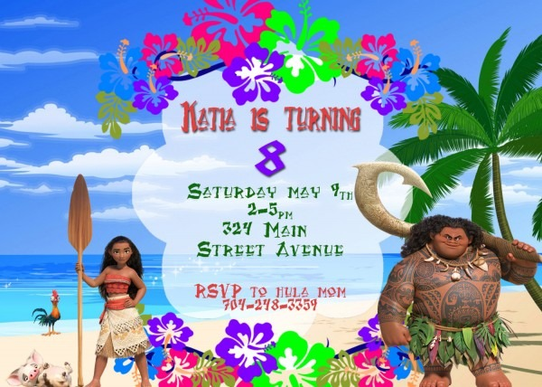 Disney Moana Invitation Printable Moana Invite Moana