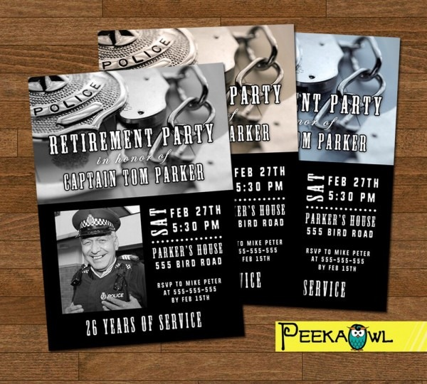 Printable Police Retirement Party Invitation Card Police