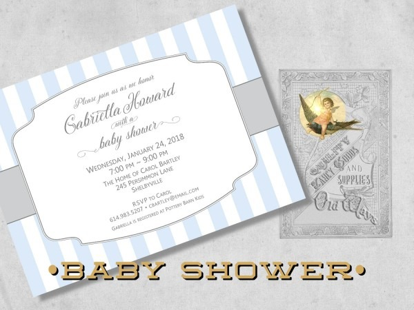 Classic Simple Baby Boy Shower Invitations Printed Baby