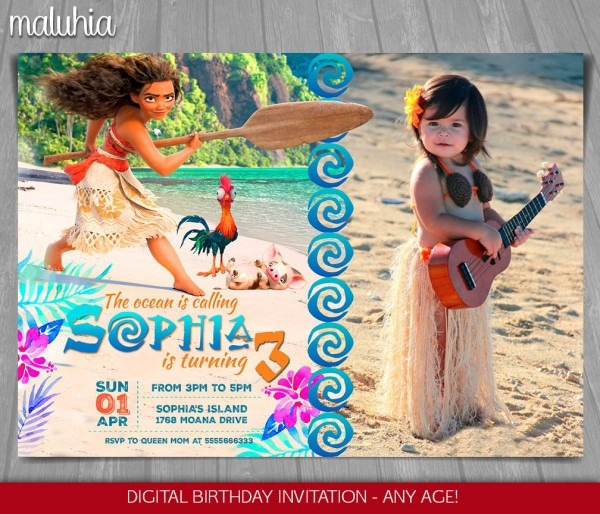 Moana Invitation Disney Moana Invite Moana Birthday