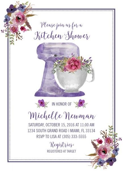 Kitchen Bridal Shower Invitation, Purple Bridal Shower Invitation