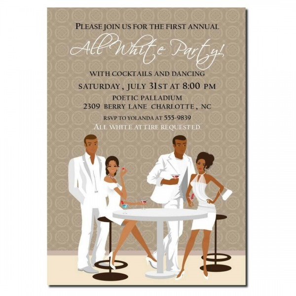 All White Party Invitation
