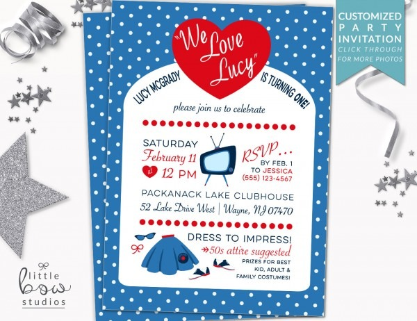 We Love Lucy Printable Invitation 50s First Birthday Party