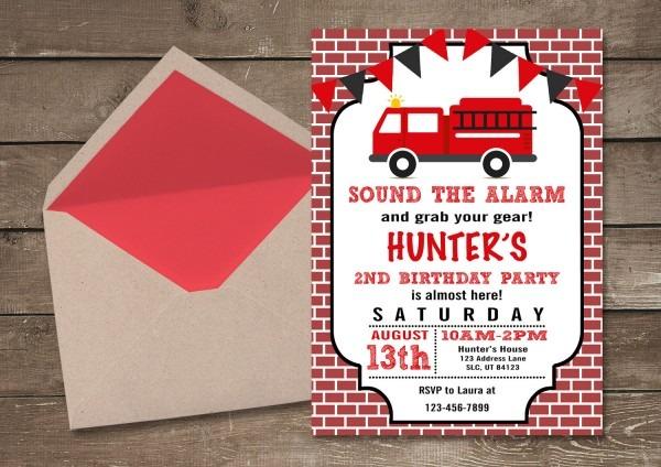 Fire Truck Invitations Fire Truck Birthday Invitation Boy
