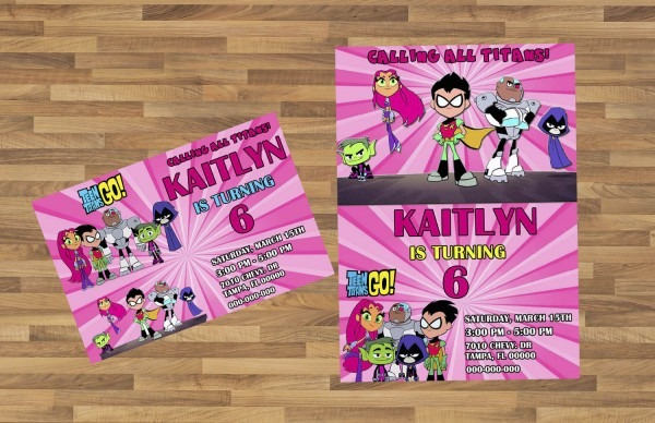 Pink Teen Titans Go Invitation You Print Invitation Girl