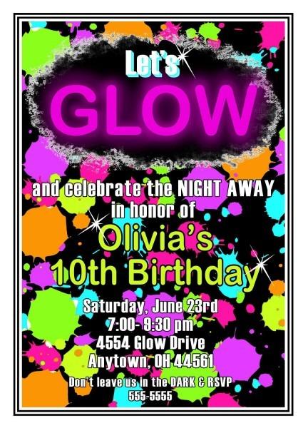 Glow In The Dark Party Invitations Glow Birthday Party Glow