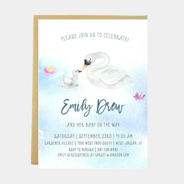 Swan Baby Shower Invitation Swan Baby Shower Swan Baby