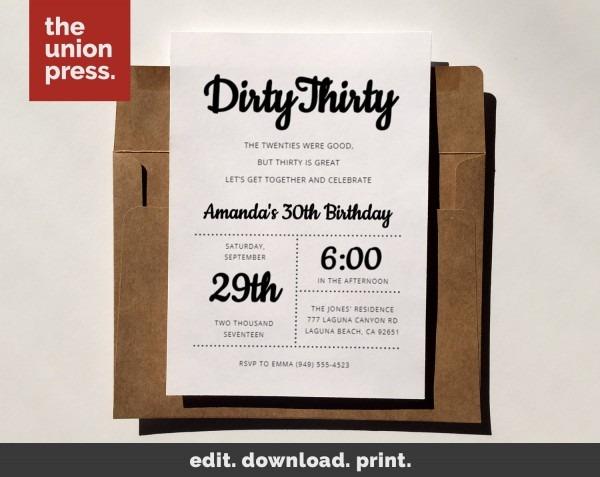 Dirty Thirty Invitation 30th Birthday Invitation Template