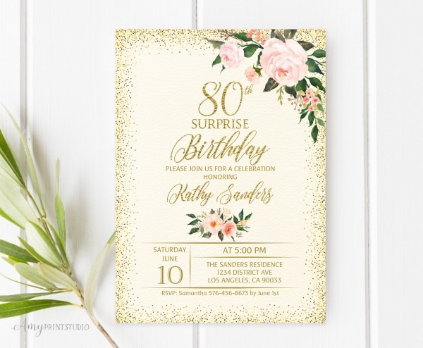 80th Birthday Invitation Floral Birthday Invitation Any Age