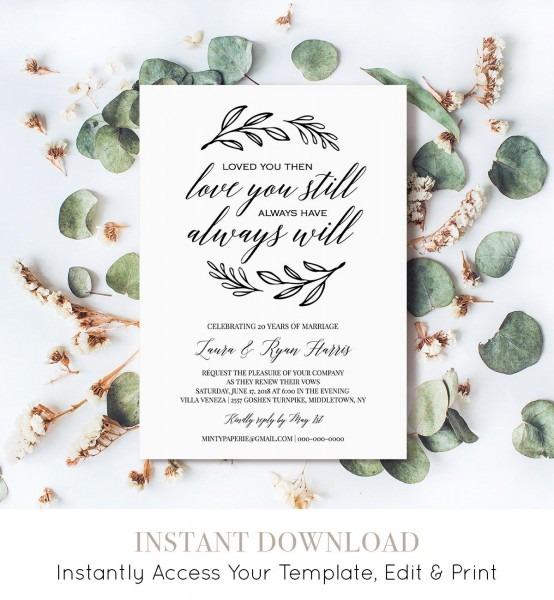 Renew Vows Invitation Template, Printable Wedding Anniversary