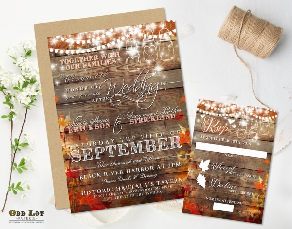 Rustic Wedding Invitation Fall Wedding Invite Country Wedding