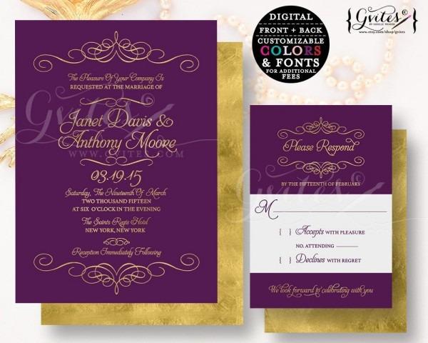 Purple & Gold Wedding Invitation, Customizable Invites Gold Glitter