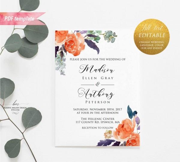 Printable Orange Purple Green Floral Wedding Invitation Pdf