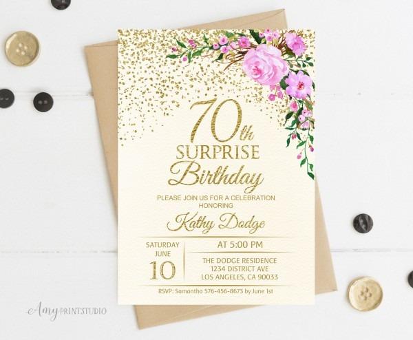 70th Surprise Birthday Invitation Floral Ivory Birthday