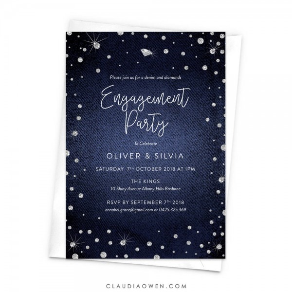 Denim And Diamonds Engagement Party Invitation Bling