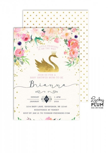 Swan Baby Shower Invitation   Swan Princess Baby Shower