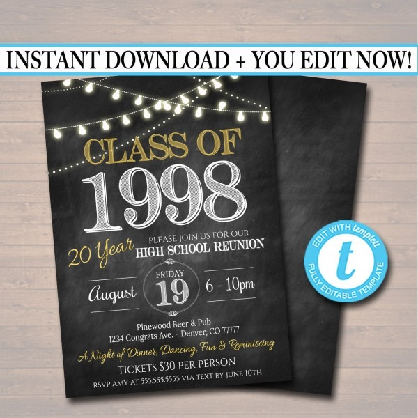 Editable Reunion Invitation Template Any Year College