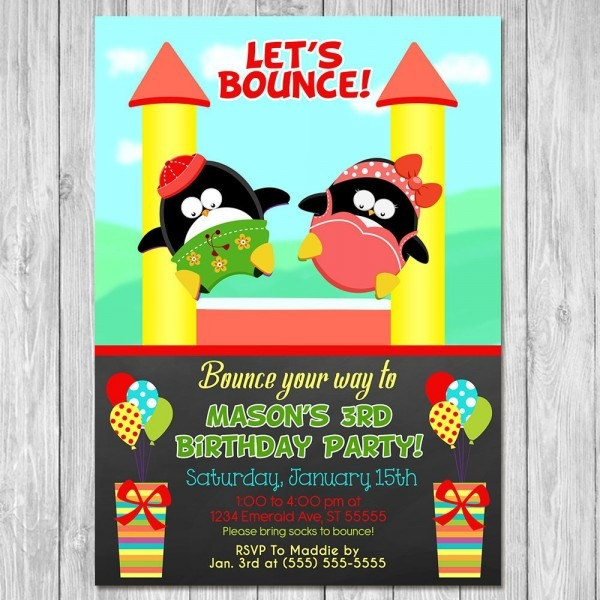 Bounce House Party Invitation Birthday Chalkboard Penguins