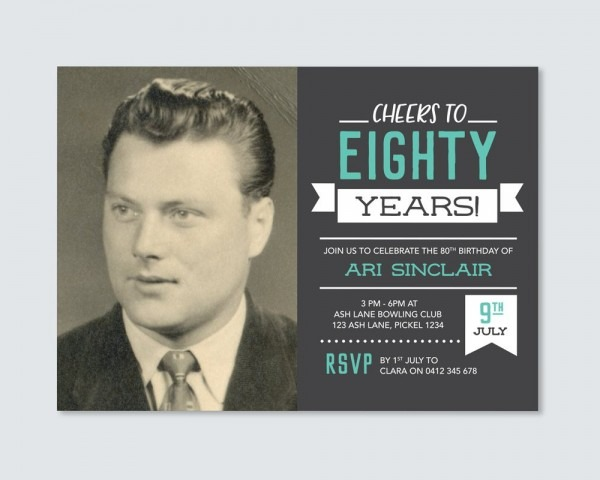 Cheers To 80 Years! Mens 80th Birthday Invitation