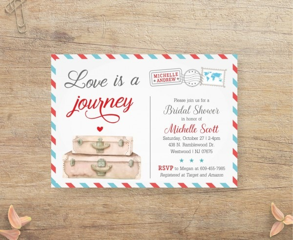 Travel Bridal Shower Invitation Love Is A Journey Airplane