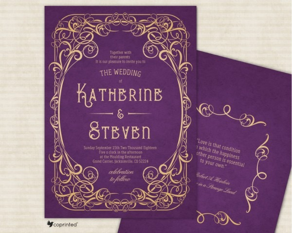Gold And Purple Wedding Invitations We Anderson Inspired Dark