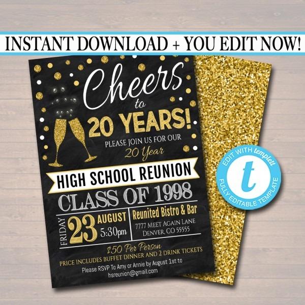 Editable Class Reunion Invitation Template Any Year