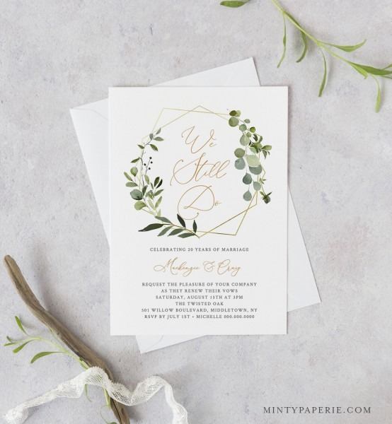 Greenery Vow Renewal Invitation Template, Instant Download