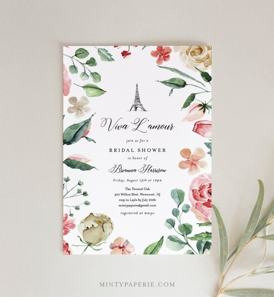 Paris Bridal Shower Invitation, Printable French Wedding Shower