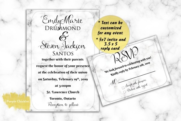 Marble Wedding Invitation Set White Marble Invitation And