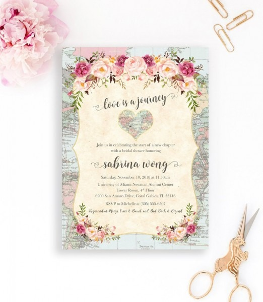 Map Travel Bridal Shower Invitation, Love Is A Journey, Adventure