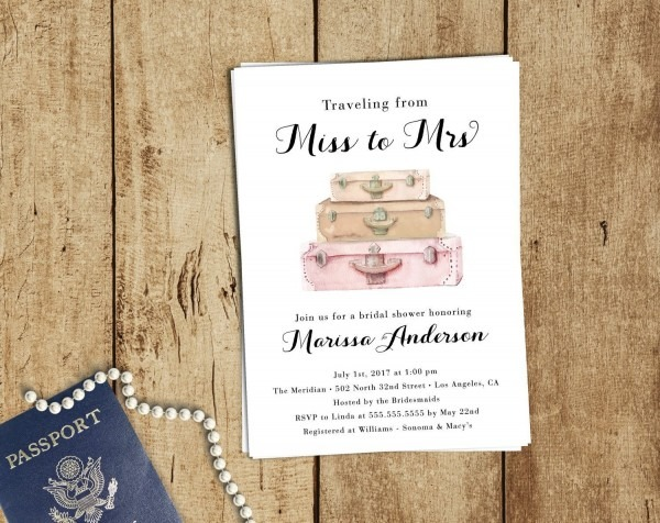 Travel Bridal Shower Invitation Boho Traveling From Miss To