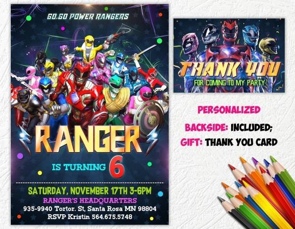 Power Rangers Invitation Power Rangers Birthday Party Power