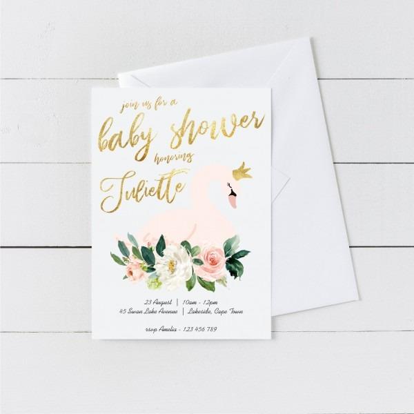Swan Baby Shower Invitation Printable Girl Baby Shower Swan