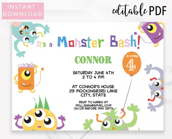 Monster Birthday Bash Invitation Template Instant Download