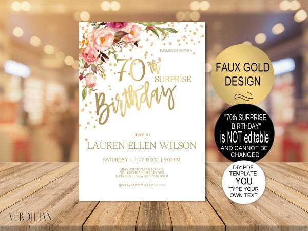 70th Surprise Birthday Invitation Blush Gold Floral Birthday