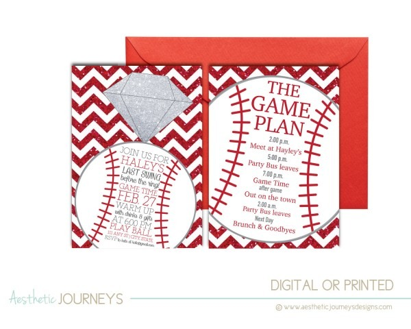 Fun Bachelorette Party Invite For The Baseball Bride's