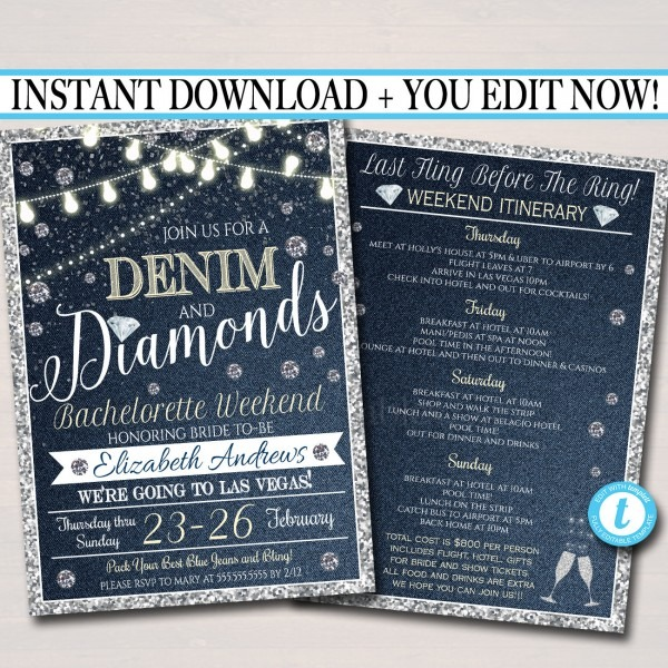 Editable Denim And Diamonds Bachelorette Party Invitation