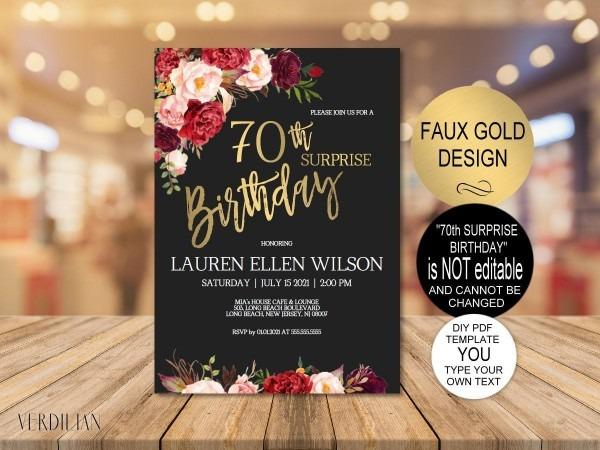 Diy 70th Surprise Birthday Invitation Template Burgundy Gold