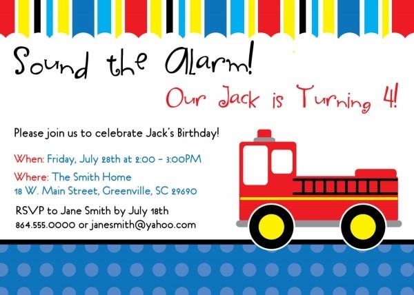 Firetruck Fireman Birthday Invitations, Child, Kid Party, Set Of