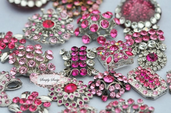 10pc Pink Assorted Rhinestone Flat Back Embellishments Diy