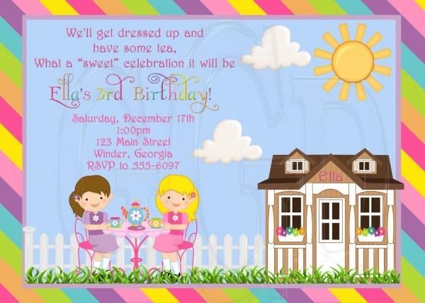Tea Party Invitation Little Girl Tea Party Garden Tea Party
