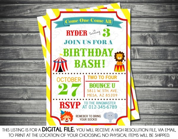 Circus Theme Birthday Invitation Yellow Green Red Lion