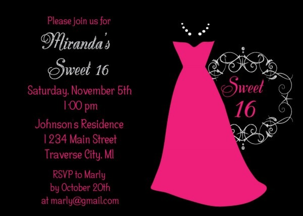 Dress Sweet 16 Birthday Invitation