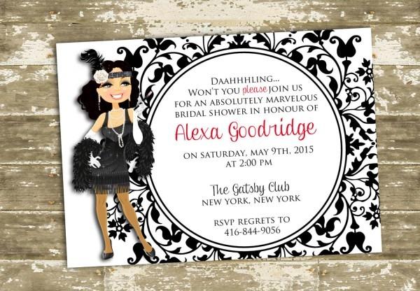 Great Gatsby Flapper Inspired Bridal Shower  Party Invitation