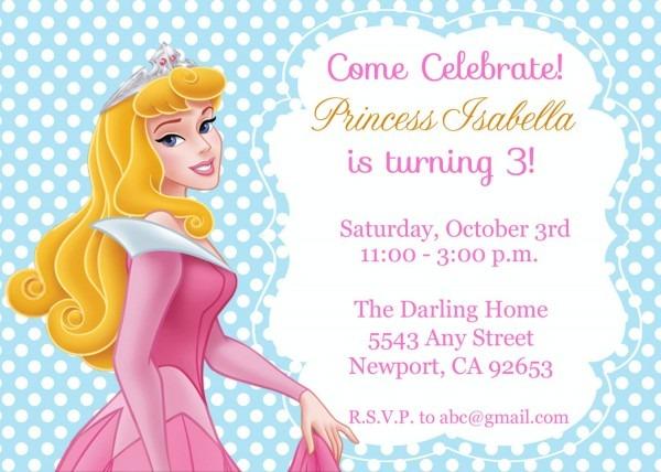 Princess Aurora Sleeping Beauty Invitation Kid's Birthday
