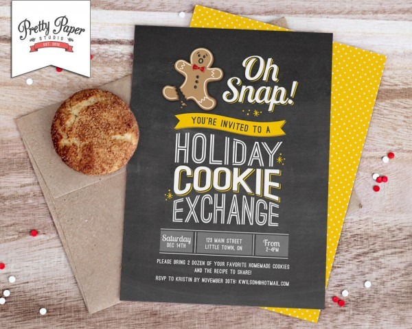 Oh Snap Holiday Cookie Exchange Invitation    Cookie Swap