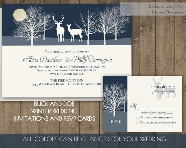 Rustic Woodsy Deer Wedding Invitations Buck And Doe Winter Wedding